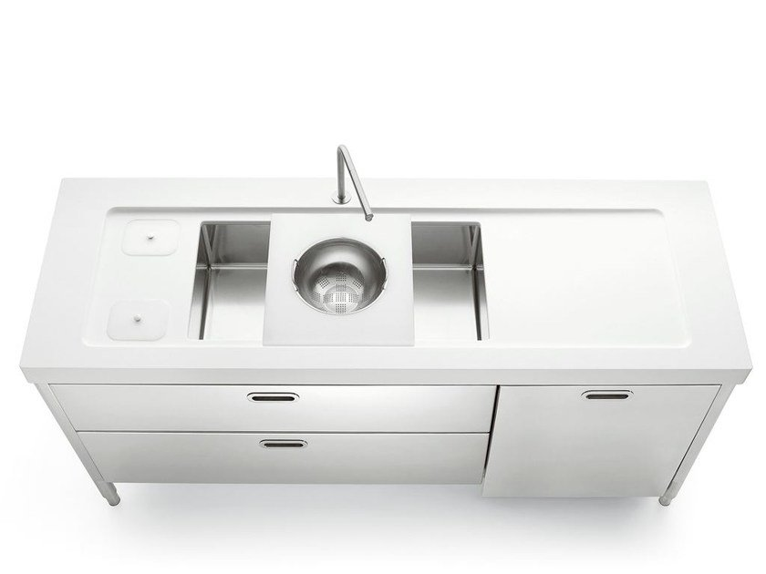 Stainless steel kitchen unit LIBERI IN CUCINA | Kitchen unit with single sink - ALPES-INOX
