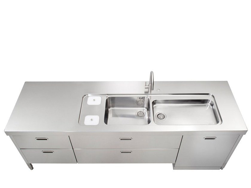 Stainless steel kitchen unit LIBERI IN CUCINA | Kitchen unit with double sink - ALPES-INOX