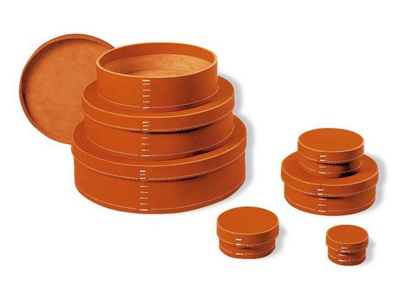 Tanned leather storage box 1980 by ESTEL GROUP