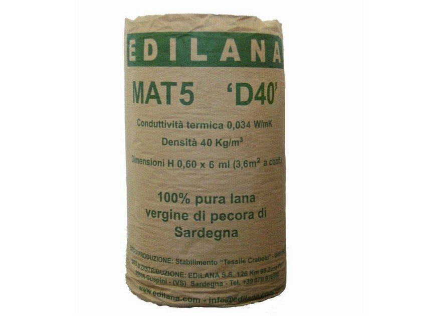 Natural insulating felt and panel for sustainable building EDILANA MAT5 D40 - EDILANA