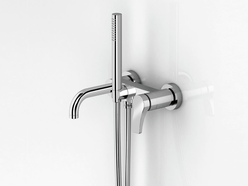 Wall-mounted bathtub mixer with hand shower AL/23 | Wall-mounted bathtub mixer - ABOUTWATER