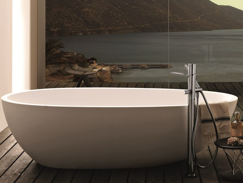 Floor standing bathtub mixer with hand shower MILANO - 3380A/3080B - Fantini Rubinetti