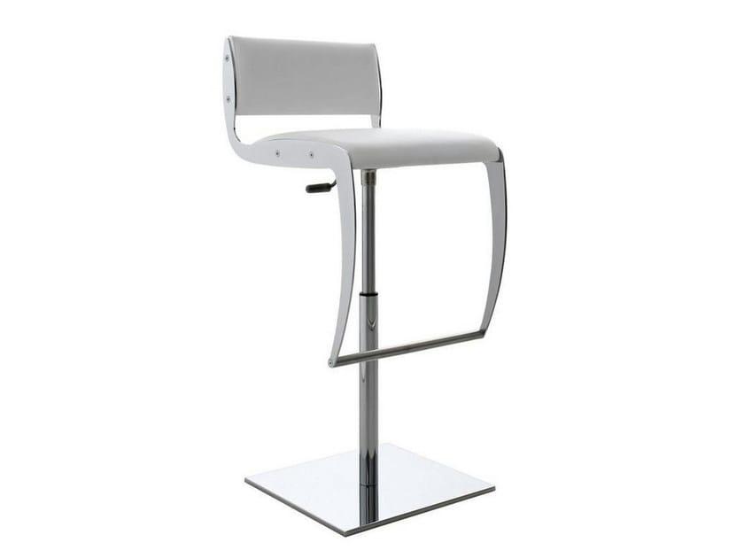 Height-adjustable upholstered imitation leather stool YURI | Upholstered stool - ITALY DREAM DESIGN - Kallisté