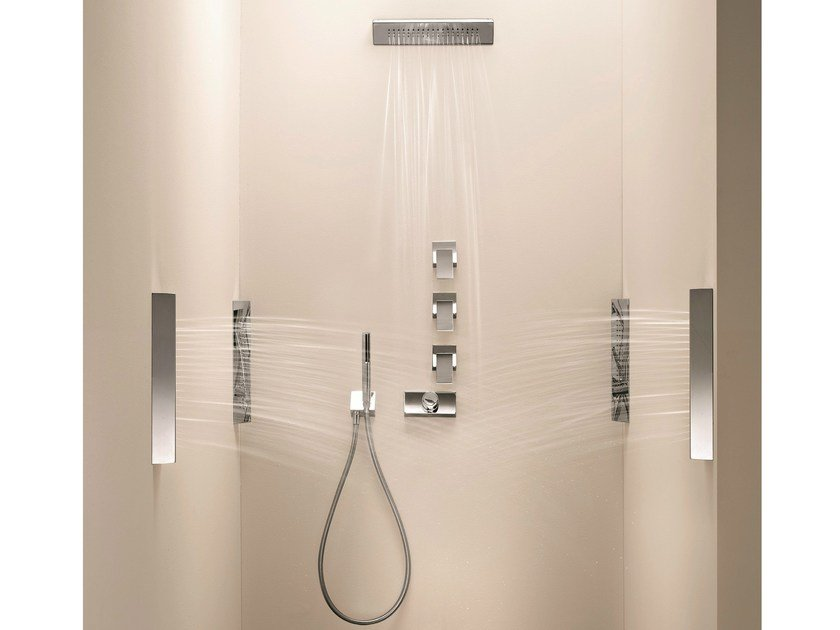 4 hole thermostatic shower mixer with overhead shower BELVEDERE | 4 hole thermostatic shower mixer - Fantini Rubinetti