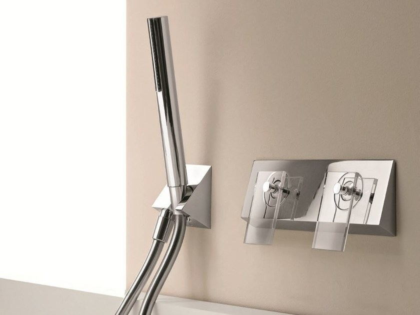 Wall-mounted bathtub mixer with plate BELVEDERE | Crystal bathtub mixer - Fantini Rubinetti