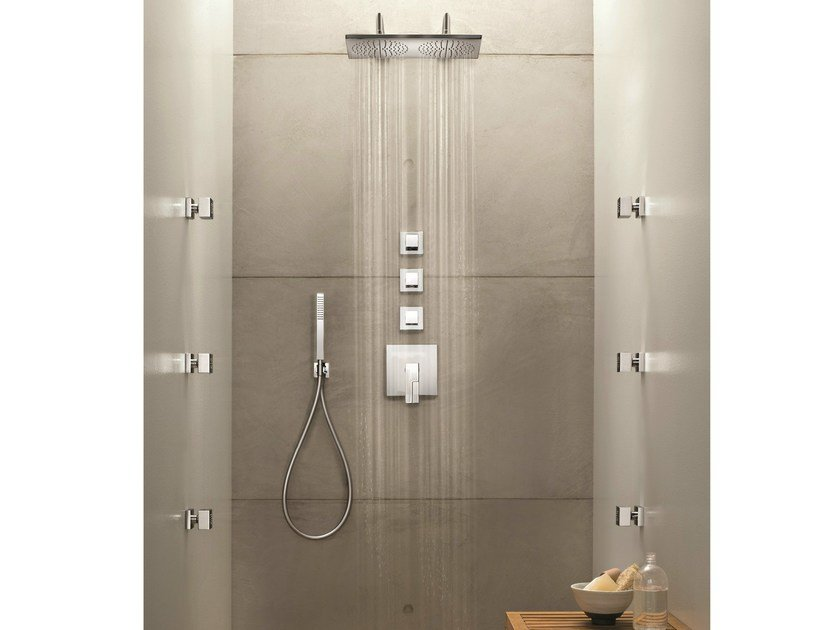 4 hole thermostatic shower mixer with overhead shower AR/38 | Thermostatic shower mixer - Fantini Rubinetti