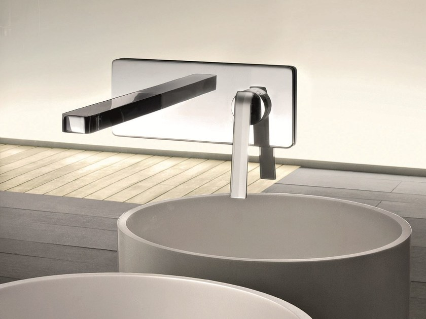 Wall-mounted washbasin mixer with plate DOLCE | Washbasin mixer with plate - Fantini Rubinetti