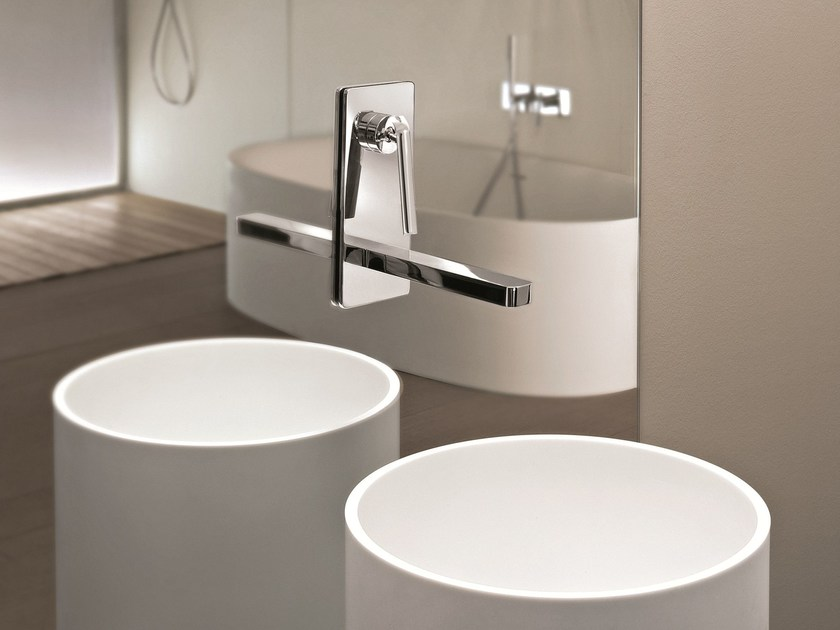 Wall-mounted washbasin mixer with plate DOLCE | Wall-mounted washbasin mixer - Fantini Rubinetti