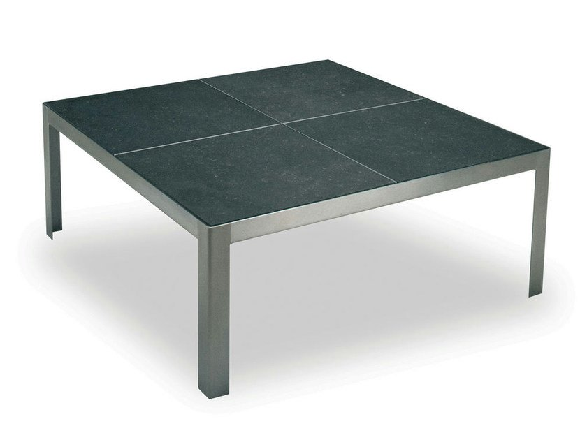 Low square stainless steel garden side table NIMIO 140 | Coffee table - FueraDentro