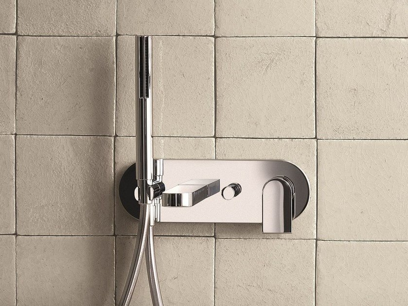 Wall-mounted bathtub mixer with hand shower MARE | Bathtub mixer with plate - Fantini Rubinetti