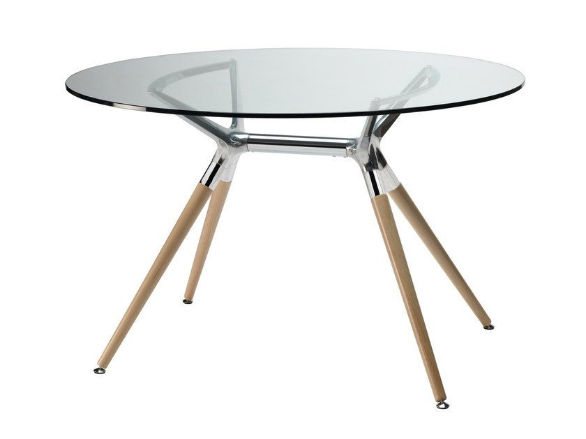 Round tempered glass table NATURAL METROPOLIS | Round table by SCAB DESIGN