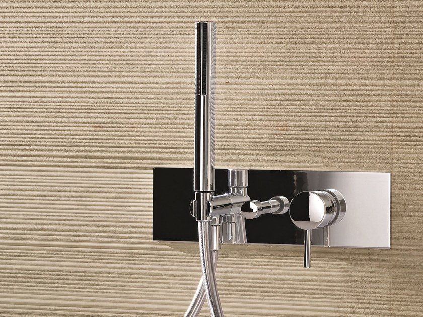 Wall-mounted bathtub mixer with hand shower CAFÈ | Bathtub mixer with hand shower - Fantini Rubinetti