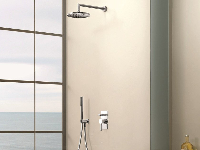 Shower mixer with overhead shower RIVIERA | Shower mixer with diverter by Fantini Rubinetti