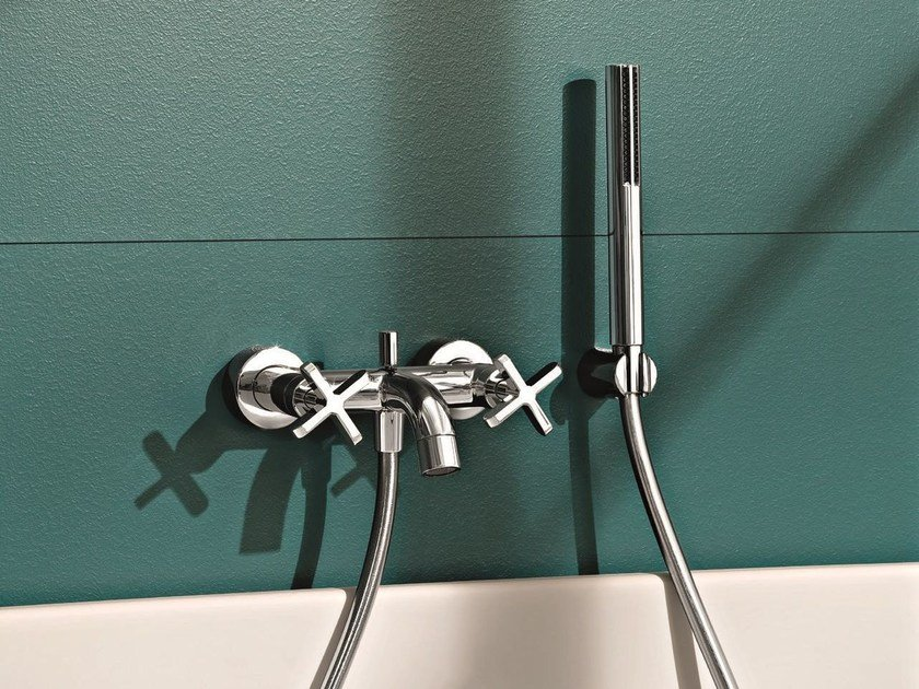 Wall-mounted bathtub tap with hand shower RIVIERA | Bathtub tap with hand shower - Fantini Rubinetti