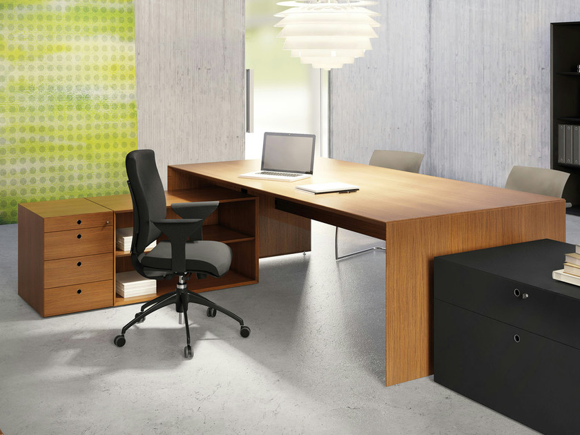 Teak workstation desk QUARANTA5 | Teak office desk - FANTONI