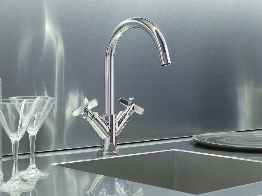 Countertop kitchen mixer tap with swivel spout RIVIERA | Kitchen mixer tap by Fantini Rubinetti