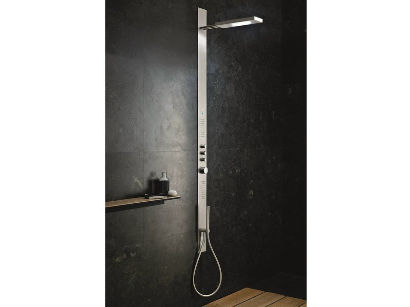 Wall-mounted multifunction thermostatic shower panel ACQUAZZURRA | Thermostatic shower panel - Fantini Rubinetti