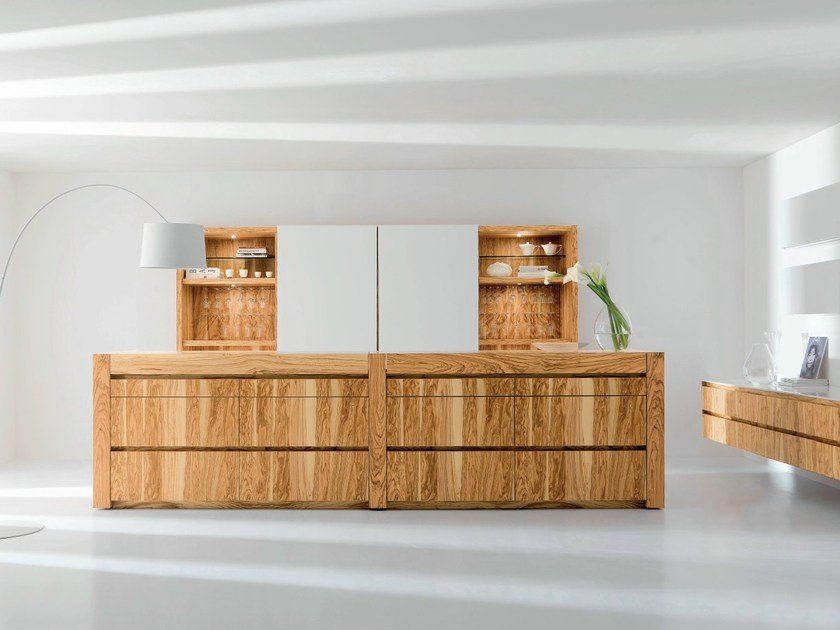 Olive wood kitchen with island ESSENTIAL WOOD by TONCELLI CUCINE