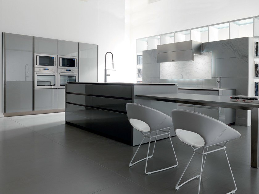 Lacquered kitchen with island WIND LACQUERED by TONCELLI CUCINE