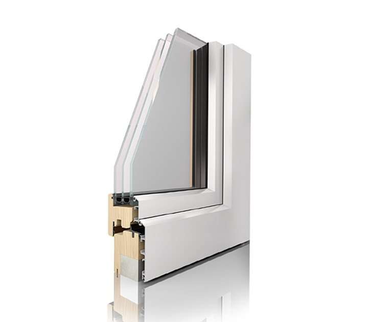 Aluminium and wood triple glazed window UNI_ONE COMFORT - Sistema UNI_ONE