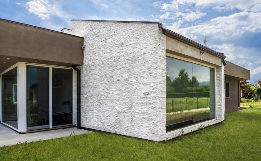 Rivestimento di facciata in pietra naturale scaglia bianca rivestimento in pietra naturale b b - Pietre da esterno per rivestimento ...