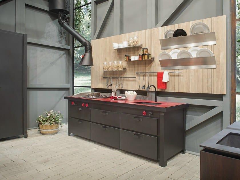 Cucina in metallo minÀ professional a parete   minacciolo