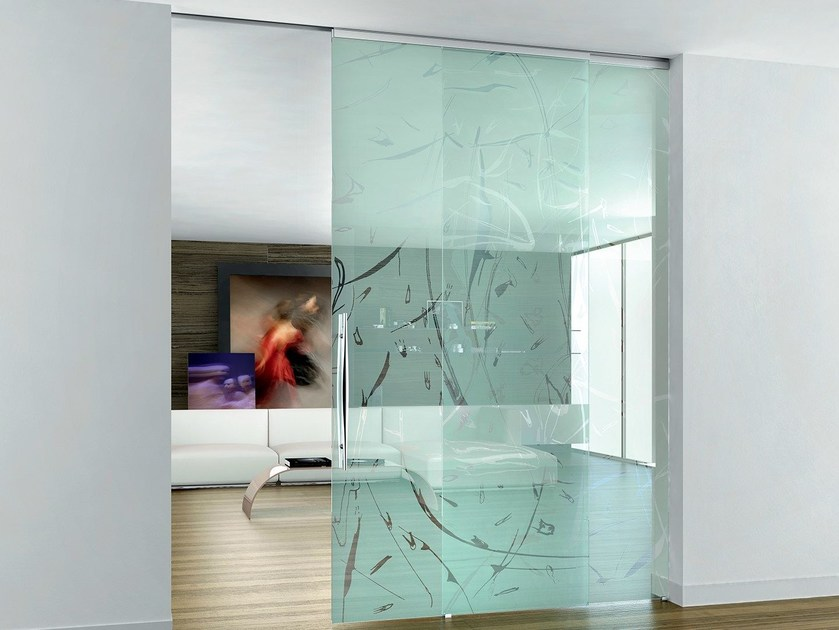 Sandblasted glass sliding door without frame BETA ZEFIRA - Casali