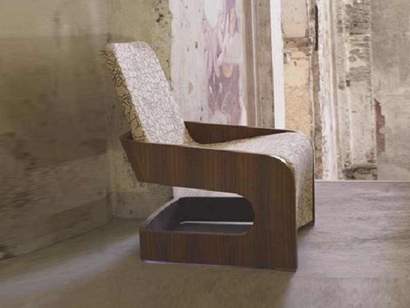 Cantilever upholstered armchair with removable cover PIPER - LINFA DESIGN
