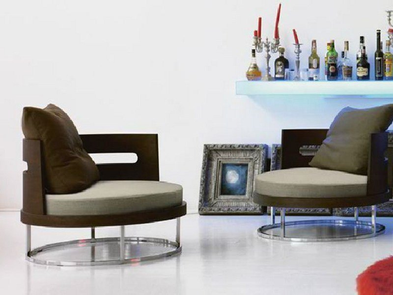 Swivel armchair with removable cover ROUND - LINFA DESIGN