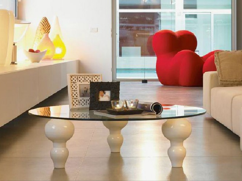 Round crystal coffee table GIUNONEst GLASS by LINFA DESIGN