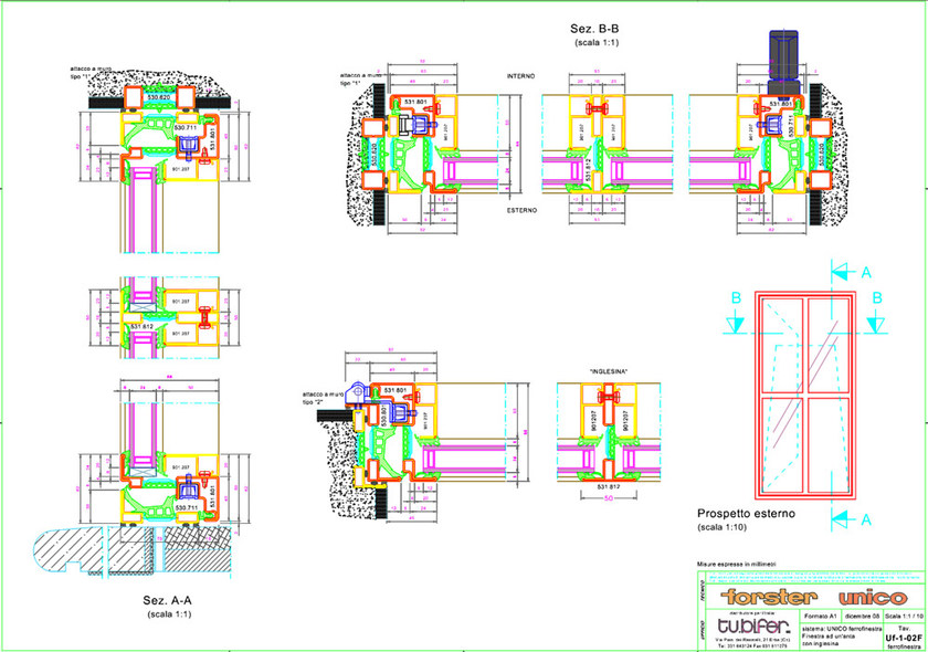 Finestra a taglio termico forster unico ferrofinestra for Scheda tecnica anta ribalta giesse