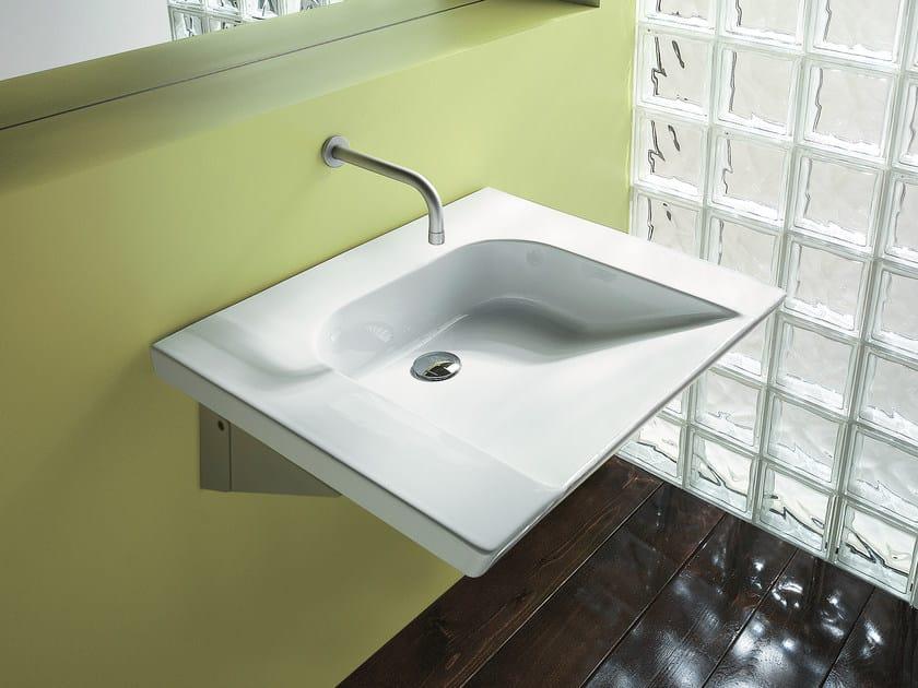 Wall-mounted ceramic washbasin VERSO COMFORT 70 - CERAMICA CATALANO