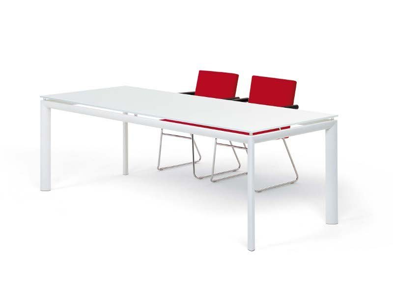 Glass and aluminium table YOGA by Segis
