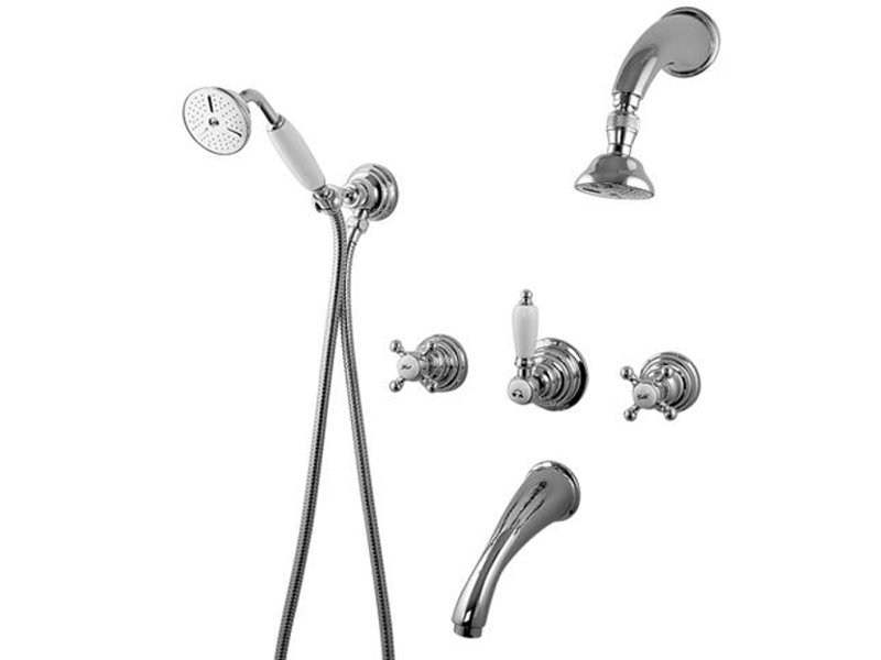 5 hole wall-mounted bathtub set VIVALDI | Bathtub set with hand shower by Gattoni Rubinetteria