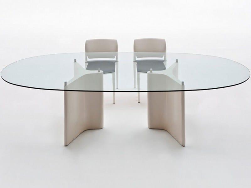 Tavolo ovale in legno e vetro tee tavolo ovale segis - Tavolo di vetro ovale ...