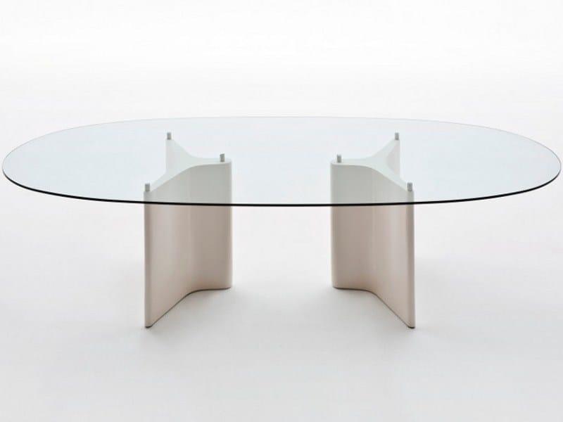 Tavolo ovale in legno e vetro TEE | Tavolo ovale - Segis
