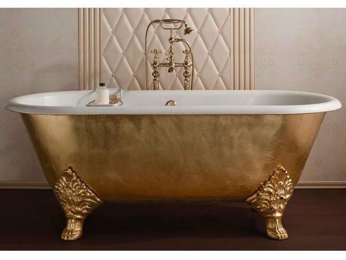 Vasca da bagno centro stanza foglia oro in stile classico for Bagno d oro