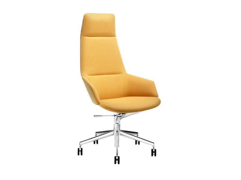 Height-adjustable high-back executive chair ASTON | Executive chair with 5-spoke base - Arper