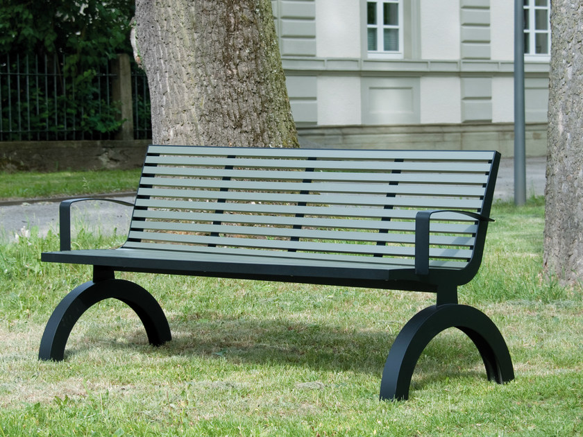 Stainless steel and PVC Bench with armrests COMFONY 140 | Bench with armrests by BENKERT BÄNKE