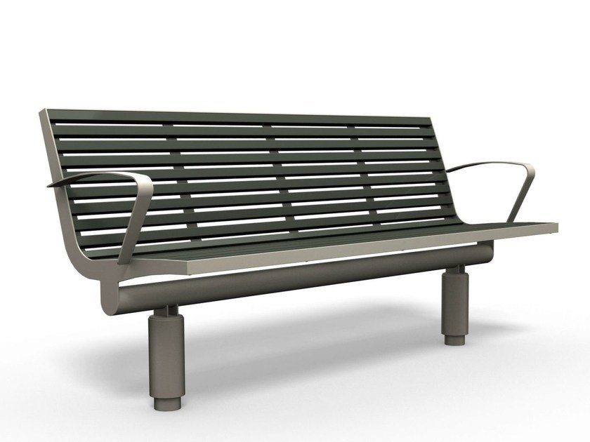 Stainless steel and PET Bench with armrests COMFONY 400 | Bench with armrests by BENKERT BÄNKE