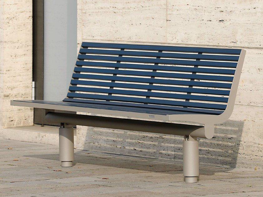 Stainless steel and PET Bench with back COMFONY 400 | Bench with back - BENKERT BÄNKE