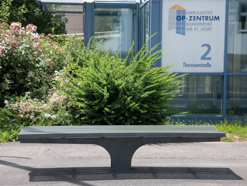 Backless stainless steel and PET Bench COMFONY S20 | Backless Bench - BENKERT BÄNKE