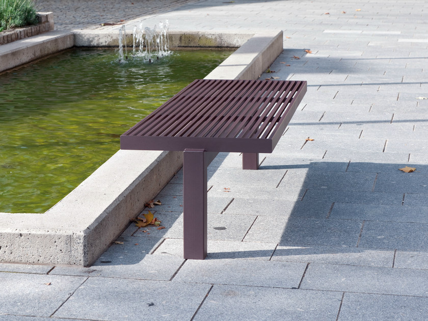 Stainless steel and PET Bench SICORUM M 400 | Backless Bench by BENKERT BÄNKE