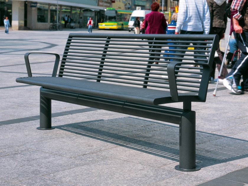 Stainless steel Bench with back SIARDO L 40 R | Bench with armrests by BENKERT BÄNKE