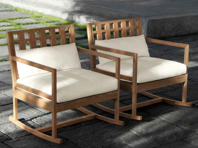 Teak rocking chair SQUARE | Rocking chair by Meridiani