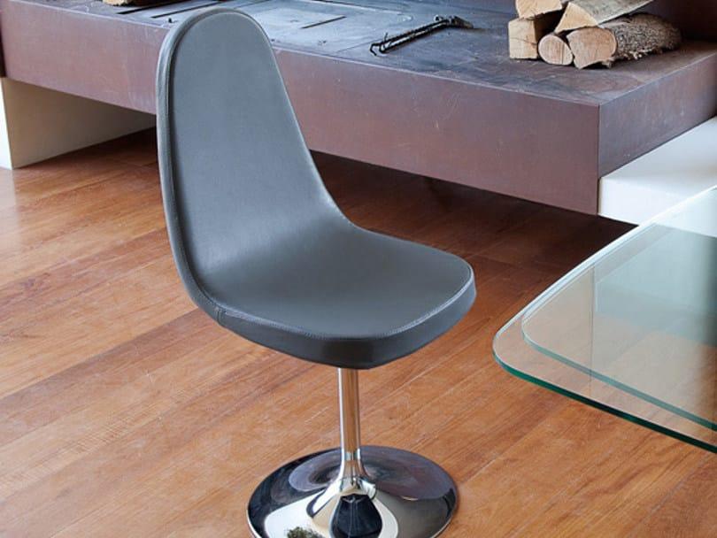 High-back swivel upholstered steel chair