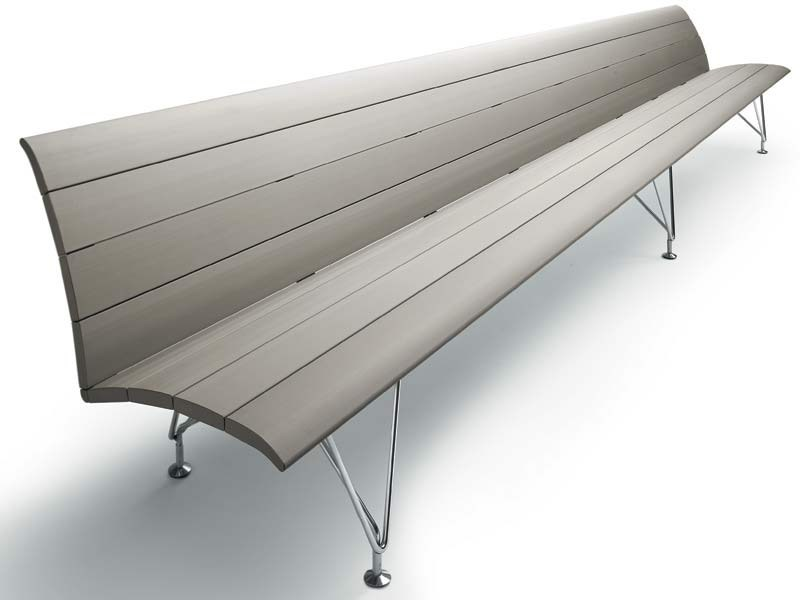 Aluminium bench seating with back AIRPORT | Bench seating with back - MASCAGNI