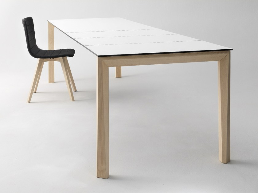 Extending rectangular wooden table UNIVERSE 160 | Wooden table by DOMITALIA