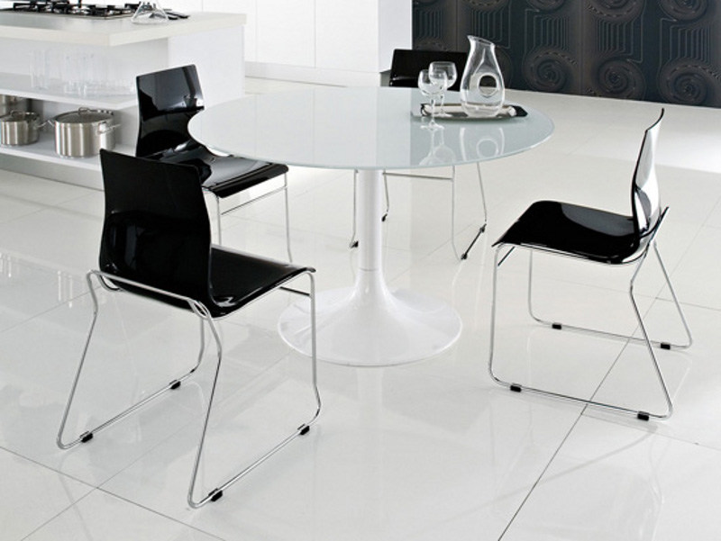 Dining living room lacquered steel table