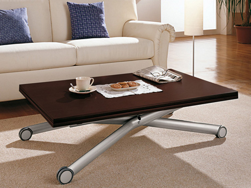 Height adjustable wooden coffee table with casters esprit - Table de salon reglable en hauteur ...